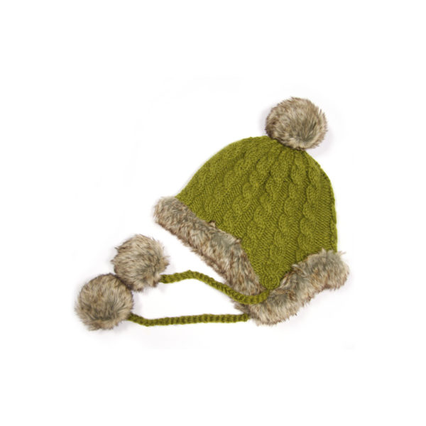 Wool bobble hat with faux fur trim in Olive Green