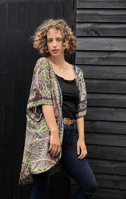 silk blend kimono jacket mosaic with gold